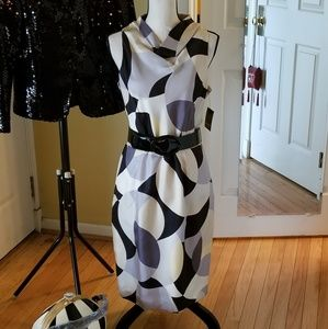 ELLEN TRACY GRAPHIC PRINT BELTED DRESS